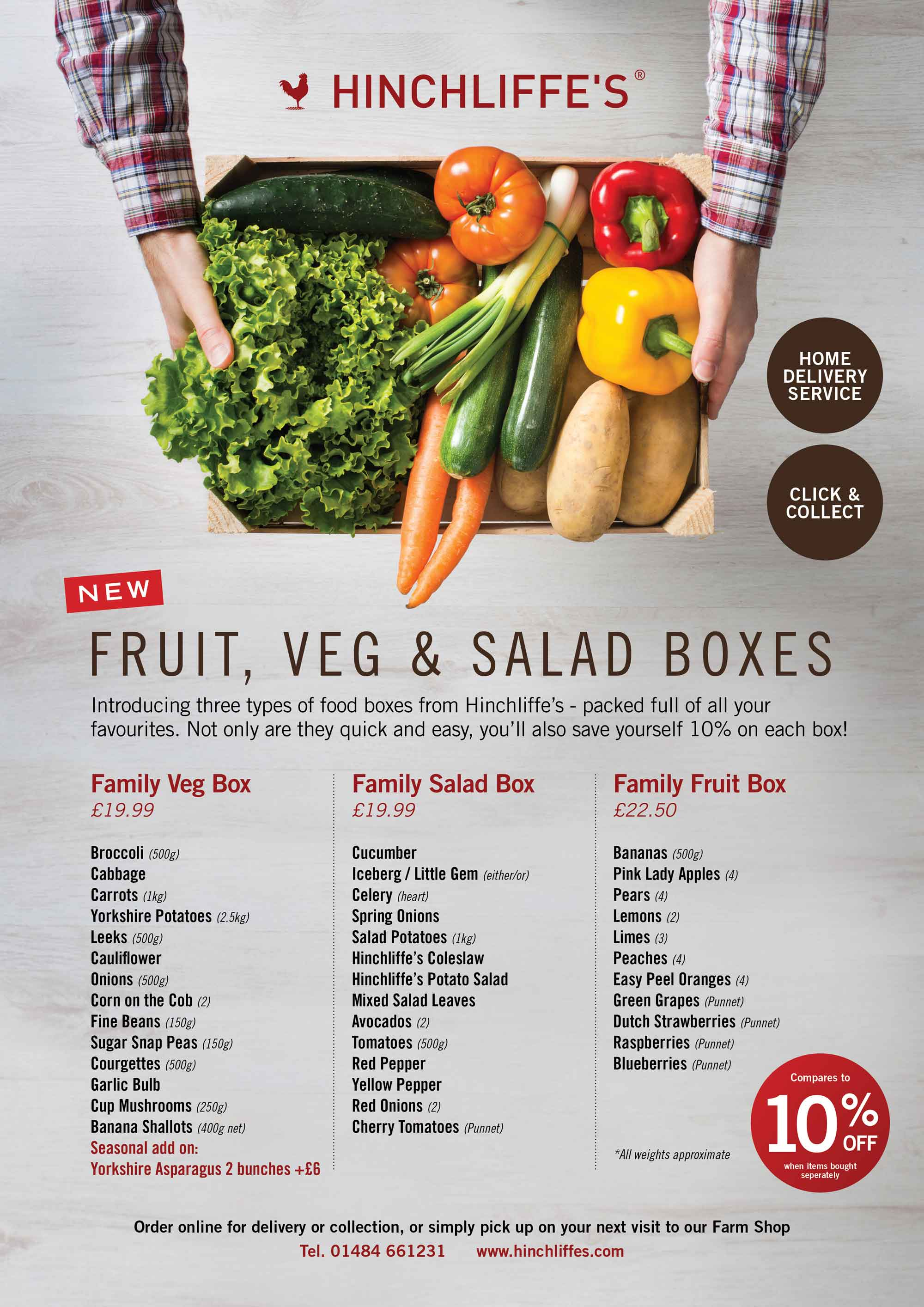 Fruit, Veg and Salad boxes contents