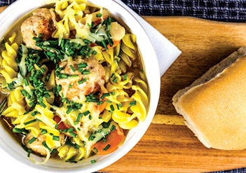 Spring Minestrone Soup with Italian Chicken Meatballs