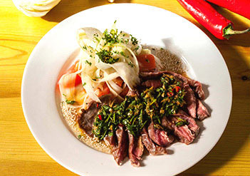 Flash Fried Bavette Steak with a Coriander, Lime & Yorkshire Chilli Dressing