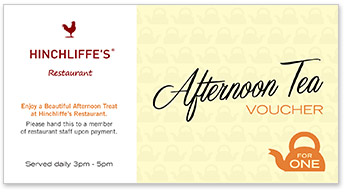 Hinchliffe's Afternoon Tea for one voucher
